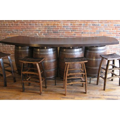 Wine Barrels Pub Table 10 Feet Long with Shelving