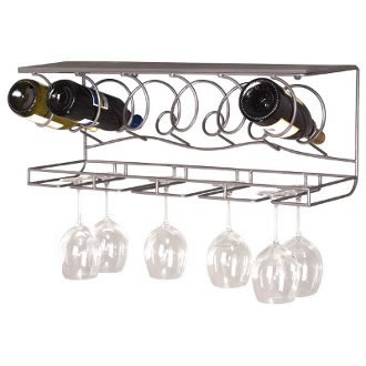 Wine Bar Wall Bottle and Wine Glasses Rack