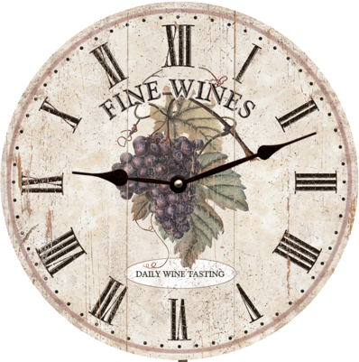 Personalized Fine Wines Clock with Purple Grapes