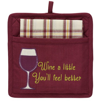 Wine A Little Pocket Potholder Set
