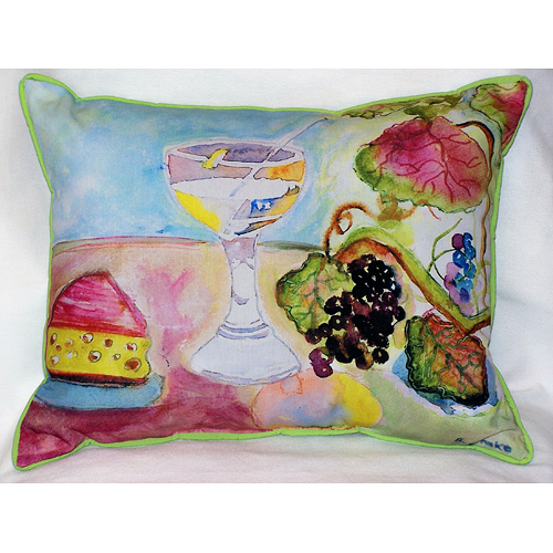 Wine and Cheese Outdoor Pillow