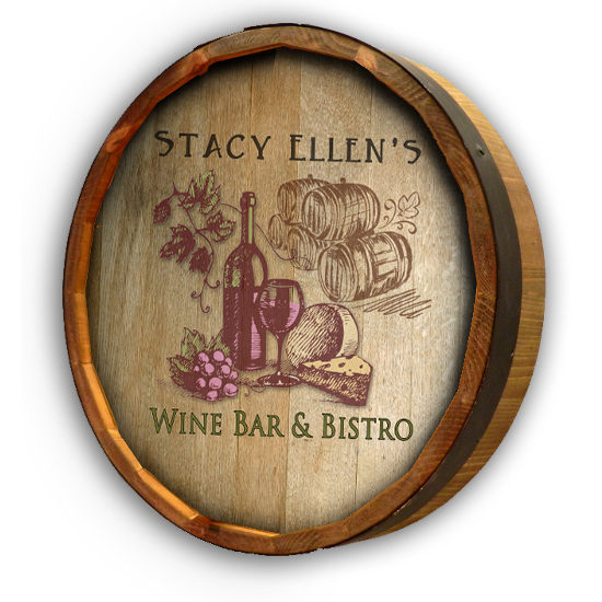 Personalized Wine and Cheese Quarter Barrel Sign