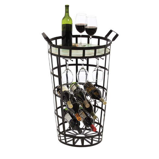 Black Metal Wine Bar Basket with Distressed Wood Top
