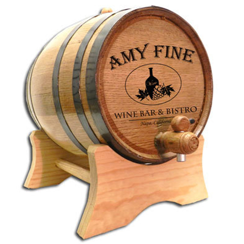 Personalized Wine Bar and Bistro Oak Wine Barrel