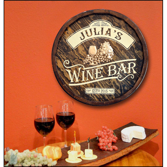Personalized Wine Bar Quarter Barrel Sign