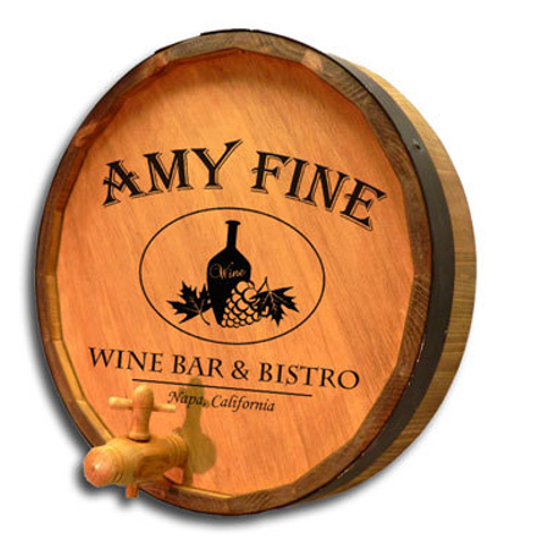 Personalized Wine Bar and Bistro Quarter Barrel Sign