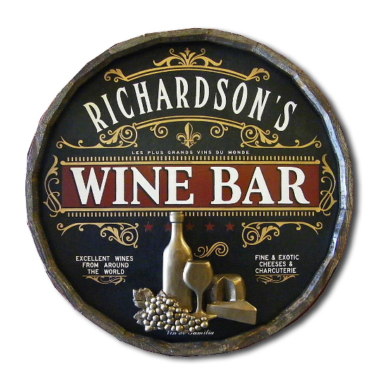 Wine Bar Personalized Quarter Barrel Sign