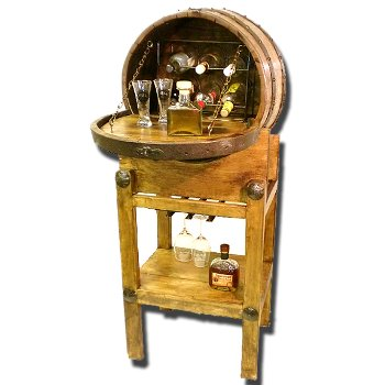 Wine Barrel Bar with Bottle and Stemware Racks