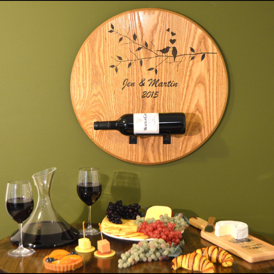 "'Birds"" Barrel Head Bottle Holder"