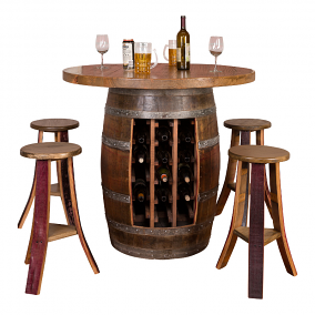 Wine Barrel Round Table Top, Option to Add Stools