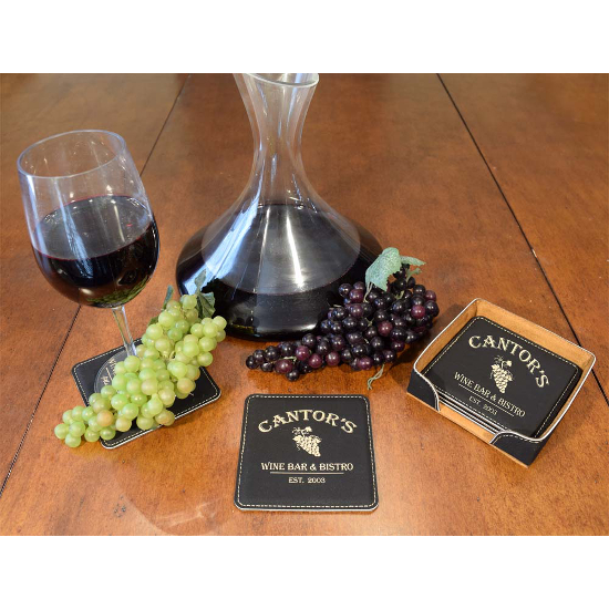 Personalized Wine Bar and Bistro Leather Coasters