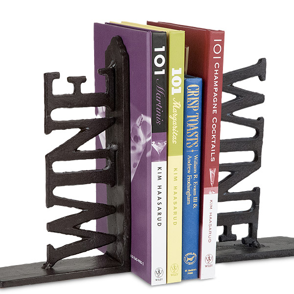 Metal WINE Book Ends