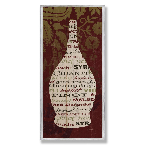 Wine Bottle with Damask Wall Art