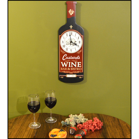 Wine Bar & Bistro Bottle Personalized Wall Clock