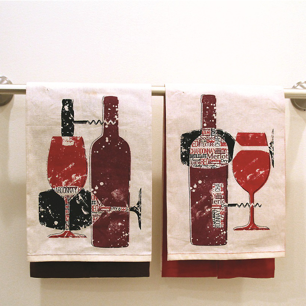 Wine Bottle Dishtowels (set of 2)