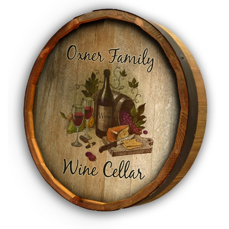 Personalized Wine Cellar Quarter Barrel Wall Sign
