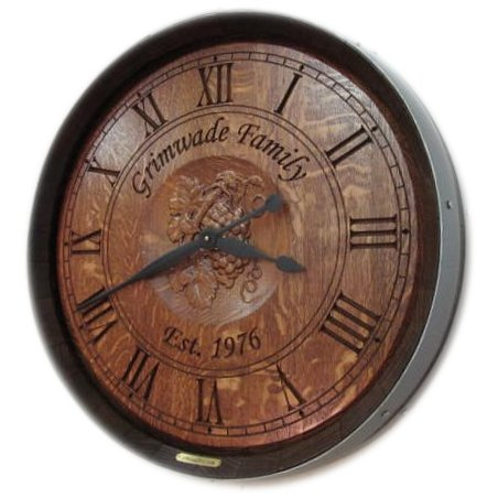 Personalized Carved Barrel Head Clock, Grapes