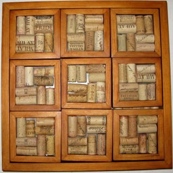 9 Cork Coasters and Serving Tray, maple