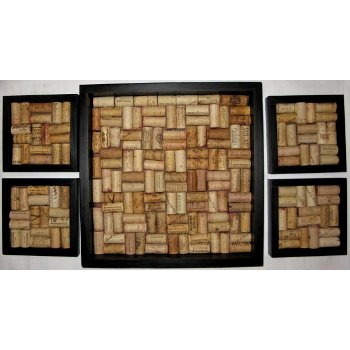 4 Cork Trivets and Serving Tray Set, Black