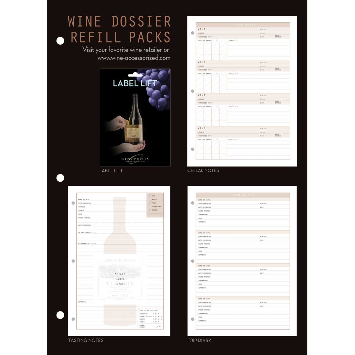 Wine Dossier Tasting Notes, 50 Sheet Refill