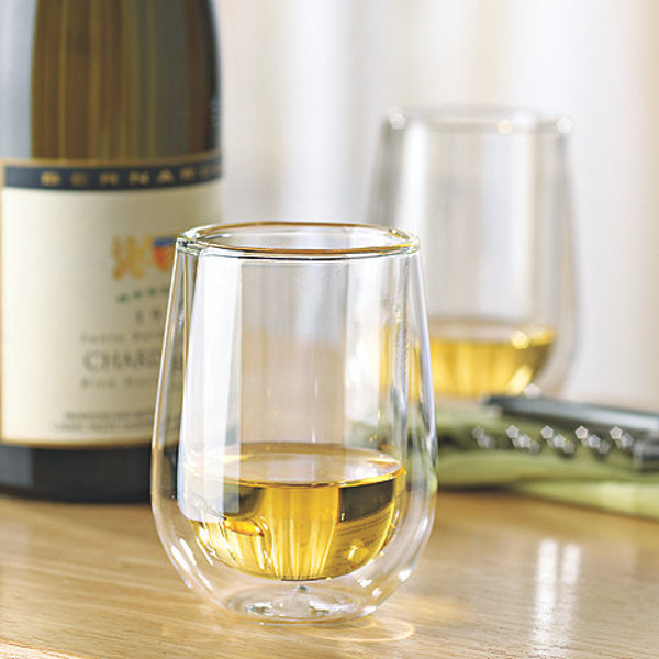Steady-Temp Double Wall Chardonnay Stemless Wine Glasses (Set of 4)