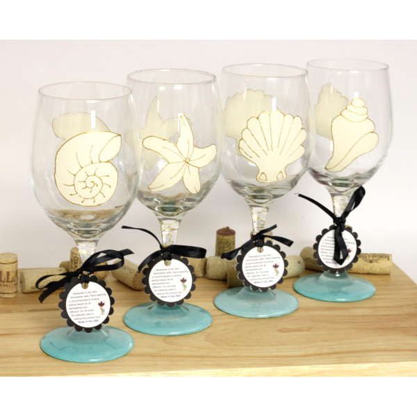 Hand Painted Seashell Wine Glasses (Set of 4)