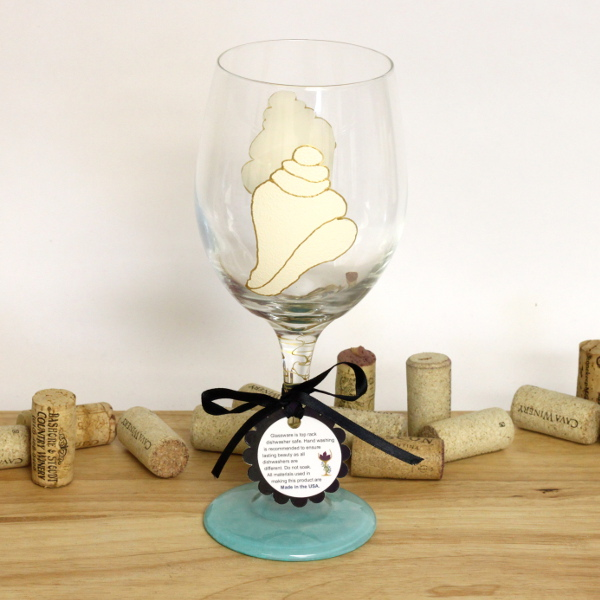 Hand Painted Conch Shell Wine Glass