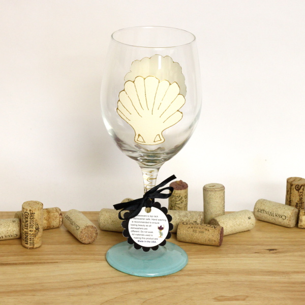 Hand Painted Scallop Shell Wine Glass