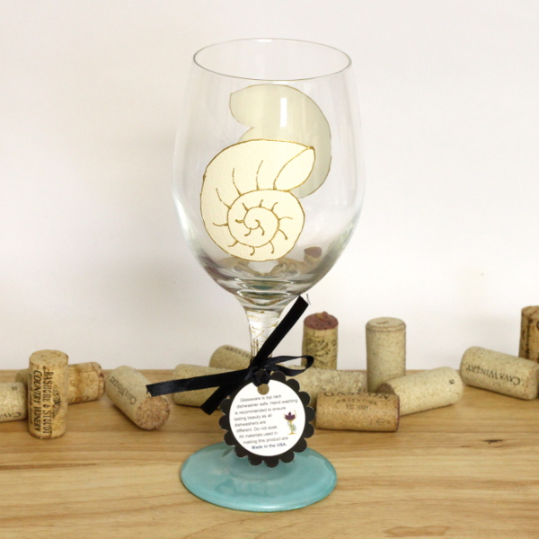Hand Painted Snail Shell Wine Glass