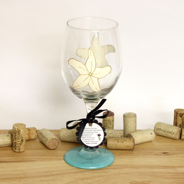 Hand Painted Starfish Wine Glass