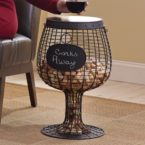 Wine Glass Cork Catcher Accent Tables (set of 2)