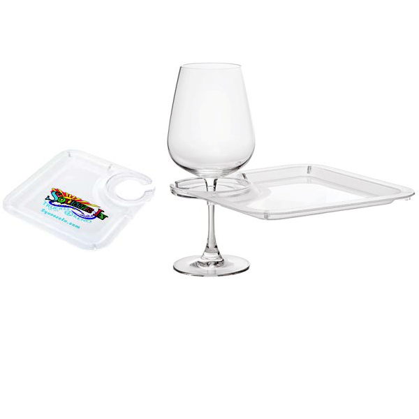 Cocktail Plates with Wine Glass Holder and Company Logo