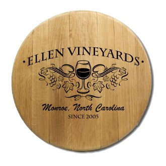 Wine Glass Barrel Head Sign