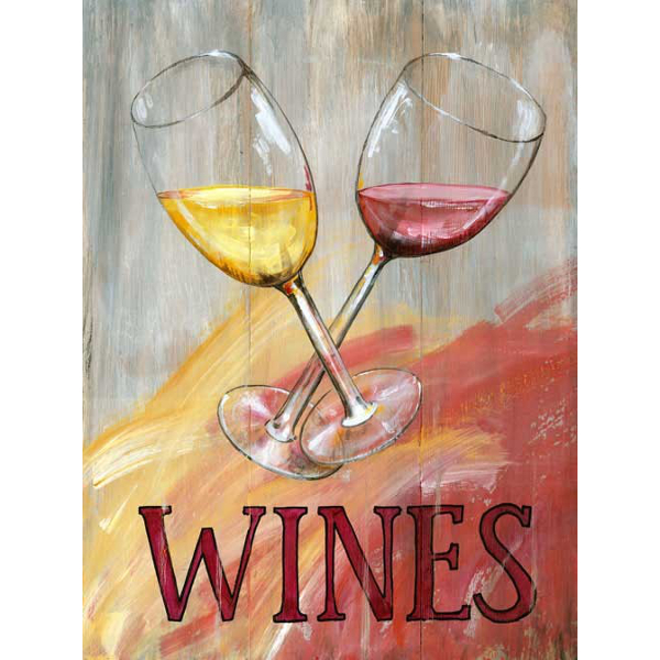 Personalized Red & White Wine Glasses Sign