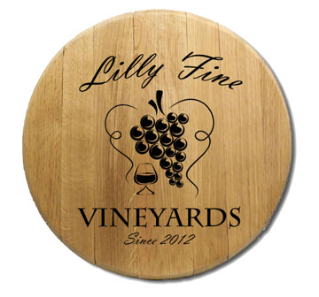 Wine Heart Barrel Head Sign