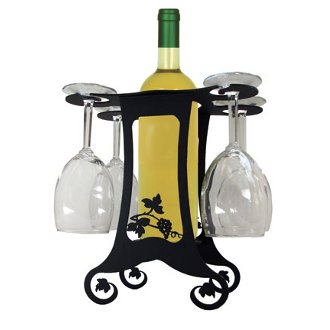 Wrought Iron Wine Bottle and Stemware Caddy