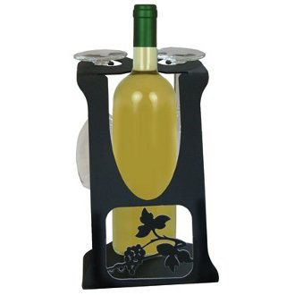 Grapevine Wine Bottle and Glasses Holder