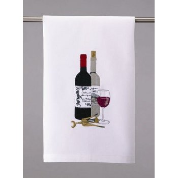 Wine Bottles and Corkscrew Kitchen Towel
