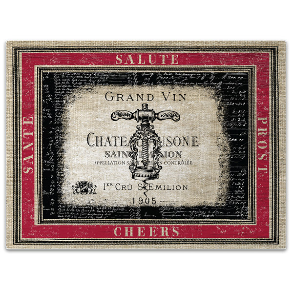 Grand Vin Tempered Glass Wine Themed Cutting Board