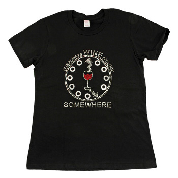 Wine O'Clock Somewhere Rhinestone T-Shirt