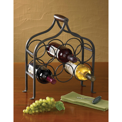 Iron Tabletop 6 Bottle Wine Rack with Handle