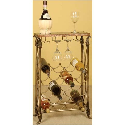 16 Bottle Wine Rack Table with Granite Top