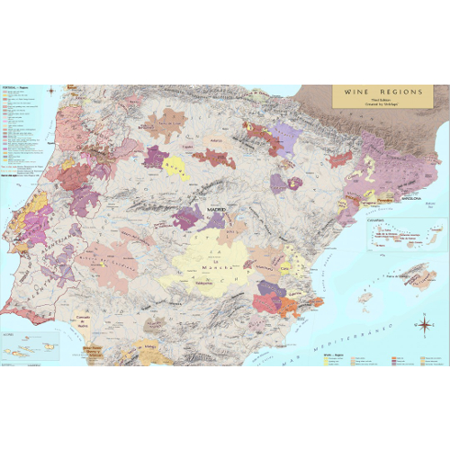 Wine Regions of Portugal and Spain Wine Map