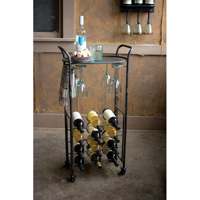 Rolling Metal Wine Serving Cart