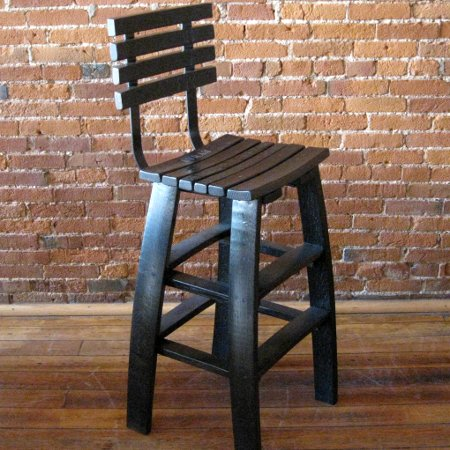 Stave Bar Stool with Backrest