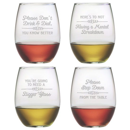 Wine Wisdom Stemless Wine Glasses