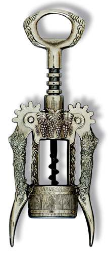Ornate Wing Corkscrew with Grape Design