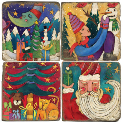 Winter Holiday Marble Coasters (set of 4)