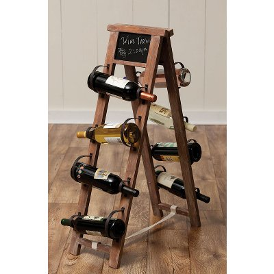 Wood & Metal Wine Rack with Chalk Board