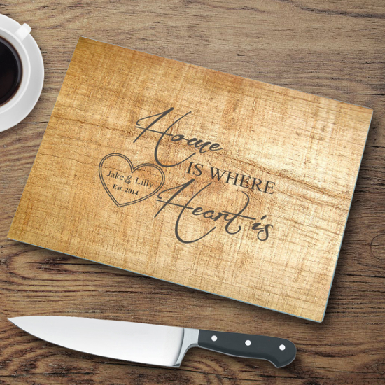 Home Is Where the Heart Is Personalized Glass Cutting Board